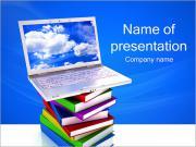 Laptop on Books PowerPoint Templates