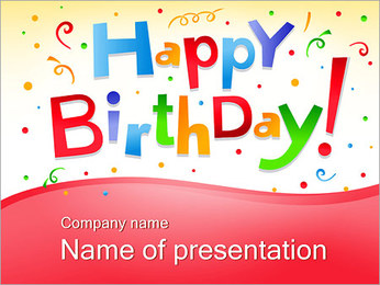 Happy Birthday Text Sjablonen PowerPoint presentatie