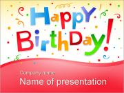Happy Birthday Text Sjablonen PowerPoint presentaties