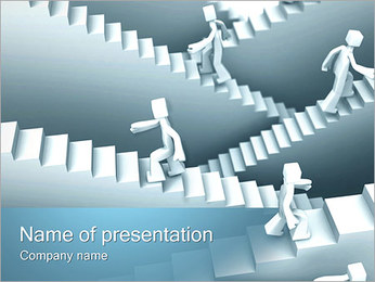 People on Stairs PowerPoint Template