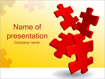 Red Puzzles PowerPoint Template
