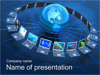 Laptops Around Globe PowerPoint Template