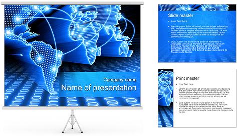 Mapa del Mundo Comunicación Plantillas de Presentaciones PowerPoint