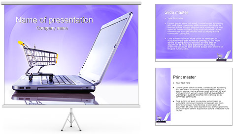 Laptop and Shopping Cart PowerPoint Template