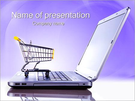 ノートパソコンとショッピングカート PowerPointプレゼンテーションのテンプレート