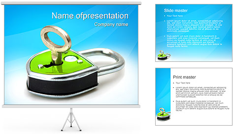 Green Lock with Key PowerPoint Template