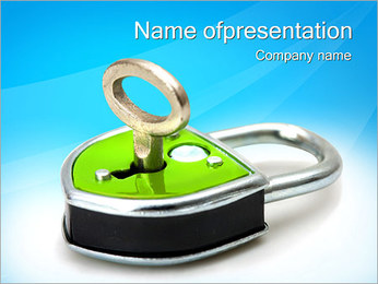 Green Lock with Key PowerPoint Template - Slide 1