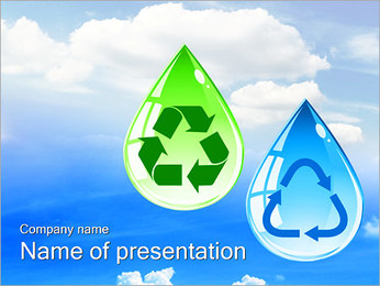 Drops with Recycle Sign PowerPoint Template
