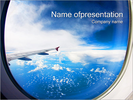 aircraft window powerpoint template & backgrounds id 0000002240, Modern powerpoint