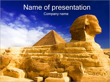 sphinx and great pyramid powerpoint template & backgrounds id, Modern powerpoint