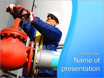 ガス管バルブ PowerPointプレゼンテーションのテンプレート