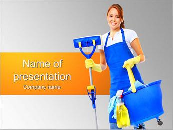 女性のクリーニング PowerPointプレゼンテーションのテンプレート