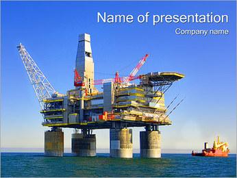 石油プラットフォーム PowerPointプレゼンテーションのテンプレート