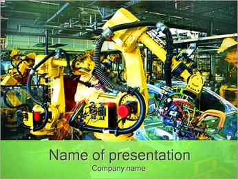 在汽车行业的机器人 PowerPoint演示模板