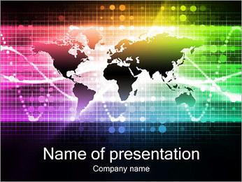Kolorowa mapa świata Szablony prezentacji PowerPoint