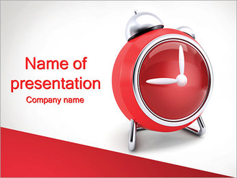 Red Clock PowerPoint Template