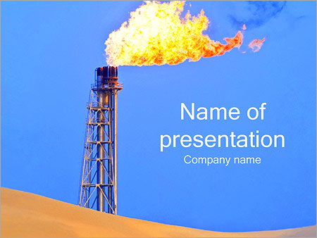 oil gas flare powerpoint template & backgrounds id 0000002274, Presentation templates