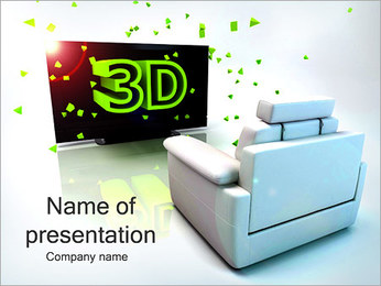 3D Films Watching PowerPoint Template