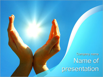 Sun in Hands PowerPoint Template