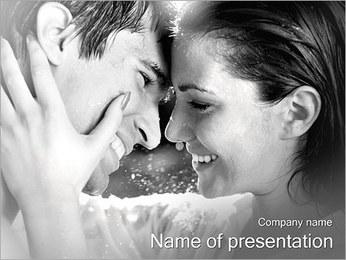 Amante de la pareja en la lluvia Plantillas de Presentaciones PowerPoint