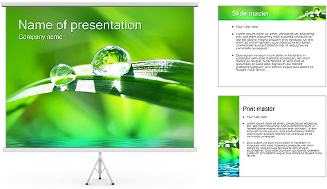 Gouttes d'eau sur l'herbe Modèles des présentations  PowerPoint