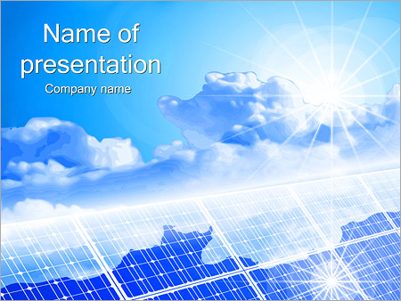 clouds on solar panels powerpoint template & backgrounds id, Powerpoint templates