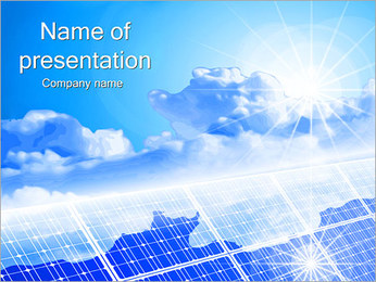 Clouds on Solar Panels PowerPoint Template