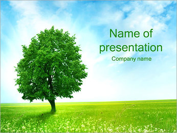 Green Tree on Field PowerPoint Template