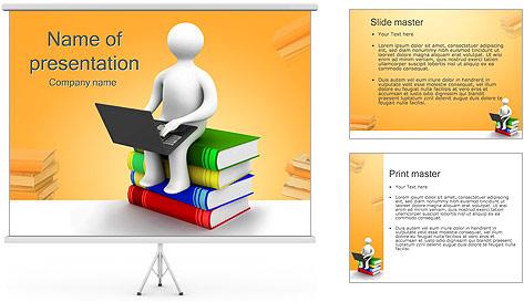 Homem com portátil em livros Modelos de apresentações PowerPoint