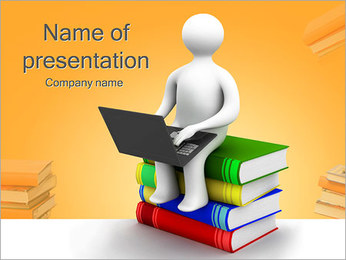 Man with Laptop on Books PowerPoint Template