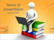 Man with Laptop on Books PowerPoint Templates