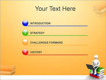 Homem com portátil em livros Modelos de apresentações PowerPoint - Slide 3