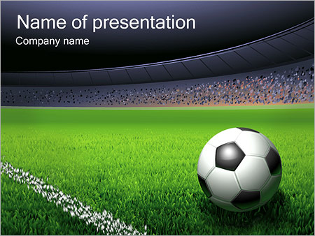 soccer ball and stadium powerpoint template & backgrounds id, Powerpoint templates