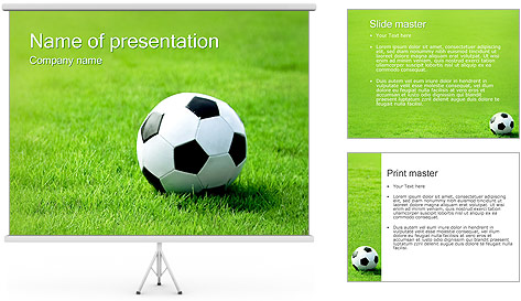 Soccer Ball on Grass PowerPoint Template Backgrounds ID – Football Powerpoint Template