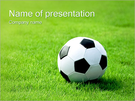 soccer ball on grass powerpoint template & backgrounds id, Powerpoint templates