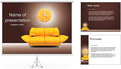 sofa and clock powerpoint template backgrounds id 0000002377
