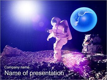 Man on Moon PowerPoint Template - Slide 1