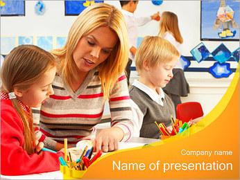 Kids and Teacher Sjablonen PowerPoint presentatie