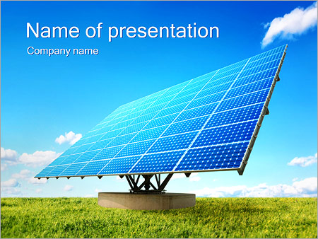 solar panel on green powerpoint template & backgrounds id, Powerpoint templates