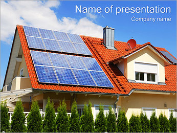 House with Solar Panels PowerPoint Template