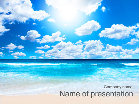 beautiful beach powerpoint template & backgrounds id 0000002405, Modern powerpoint
