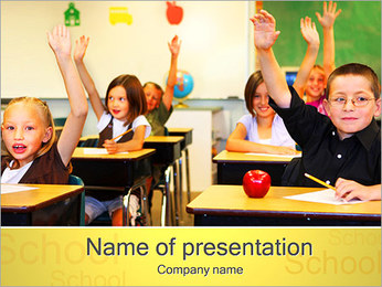 Kids in Classroom PowerPoint Template