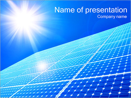 solar panel and sun powerpoint template & backgrounds id, Powerpoint templates