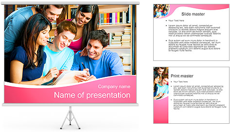 students in library powerpoint template  backgrounds id, Powerpoint