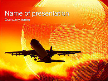 Airplane in Sky PowerPoint Template