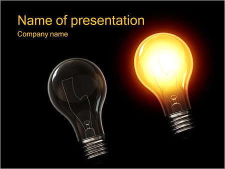 two light bulbs powerpoint template & backgrounds id 0000002437, Powerpoint templates