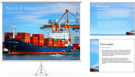Container Ship PowerPoint Template Backgrounds ID 0000002438 – Shipping Templates