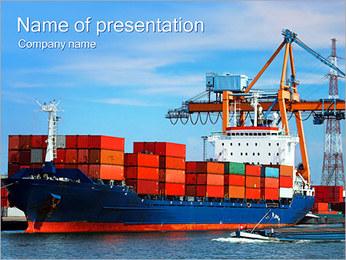 コンテナ船 PowerPointプレゼンテーションのテンプレート