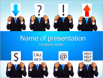 Businessmen with Signs PowerPoint Template