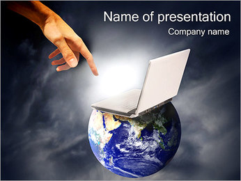 Hand from Space PowerPoint Template - Slide 1